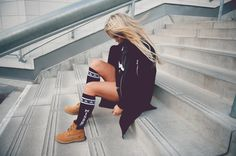 Fanny Lyckman - Coat from Blac Ivy / Sweater from Chanel / Leather T-shirt from Blac Ivy / Knee socks from MISBHV / Boots from Timberlands Leather T Shirt, Putting Outfits Together, Timberlands, Urban Street Style, Swagg, Cute Outfits, Chanel, Style Inspiration, The Originals