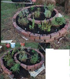 Design of a Spiral herb garden planting idea.    garden bed, garden edge