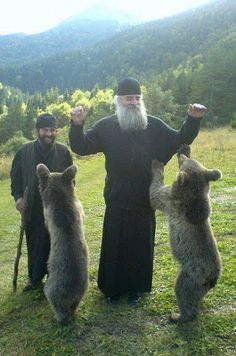 Eurasia: Orthodox monks with orphaned bear cubs, Georgia Orthodox Priest, Orthodox Christianity, World Religions, We Are The World, Orthodox Icons, Christian Faith, Pet Birds, Bear Cubs, Christian Art