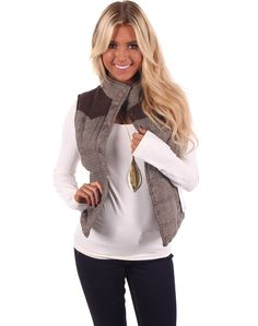 Lime Lush Boutique - Brown Snap Button Vest With Faux Suede Shoulders, $44.99 (http://www.limelush.com/brown-snap-button-vest-with-faux-suede-shoulders/)