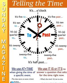 Telling the time - Learn and improve your English language with our FREE Classes. Call Karen Luceti or email kluceti to register for classes. Eastern Shore of Maryland. Learn English Grammar, English Language Learning, English Vocabulary, Teaching English, English Time, English Study, English Words, Esl Lessons, English Lessons