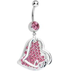 Pink Gem Paved Love Heart Dangle Belly Ring #BodyCandy #bellyring
