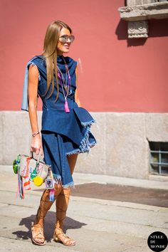 Anna Dello Russo wearing Marques Almeida dress, Anya Hindmarch bag and Valentino sandals before Missoni fashion show