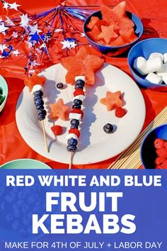 These red white and blue fruit kebabs are perfect for Labor Day or 4th of July!  They make a fun festive snack idea for the kiddos, and take very little work on your part - just a few skewers, foods that fit the color scheme, and some star shaped cookie cutters for the watermelon.