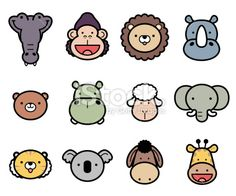 Icon Set: Cute Zoo Animals in color Royalty Free Stock Vector Art Illustration