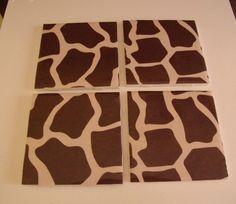 Giraffe Print SET OF 4 Ceramic Table Coasters by crazydaisy12, $12.00