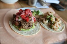If the question is #taco the answer is simply #yes. Spicy pork shoulder carnitas, left, and Labrador shrimp.