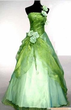 green organza with green roses. This could be an upcycled lightly colored bridesmaid dress with layered organza sewn over the top.