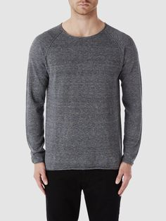 CREW NECK - KNITTED PULLOVER, Grey, large