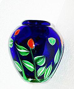 Kusak Art Cryrstal Vase Cobalt Blue With Cased Flowers Signed