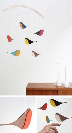 Modern Simple Bird Mobile - My best baby products list Bird Mobile, Mobile Art, Hanging Mobile, Baby Decor, Nursery Decor, Diy For Kids, Crafts For Kids, Wood Bird, Paper Birds