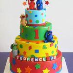 1st Birthday 4 Tier Sesame Street Cake