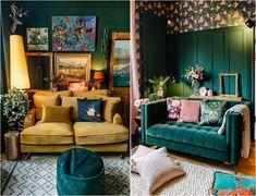 3-tips-in-choosing-a-velvet-sofa-colour Dark Green Living Room, Dark Green Walls, Blue Walls, Green Velvet Sofa, Yellow Sofa, Green Sofa, How To Hang Wallpaper, Wallpaper Ideas, Green Lounge