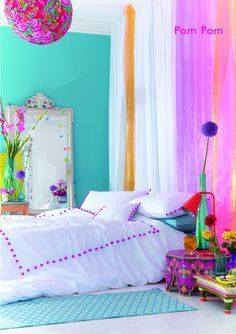 Bright Colored Bedroom colorful bedroom home bright colors neon style decorate…