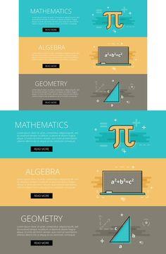 Math. Algebra. Geometry banner set. Web Elements. $3.00