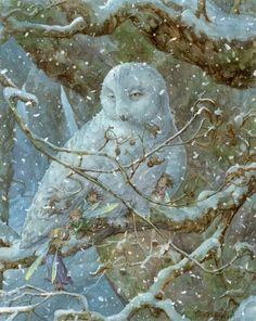Sneeuwuil warmt de elfjes, lief! Geschilderd door James Browne.