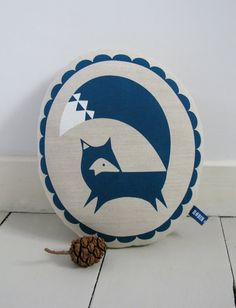 Hand Screen Printed Fox in French Navy by robinandmould on Etsy, £20.00