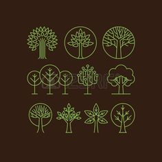 Vector organic tree icons - outline  monograms and logos -ecology and bio design…