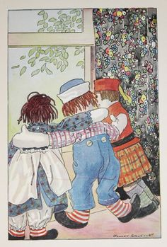 Vintage Raggedy Ann and Andy, 1920 Childrens Book Page, Johnny Gruelle Illustration, Friends