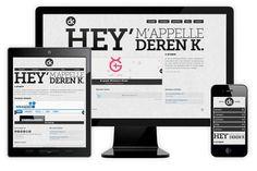 Voorbeeld voor website op computer, tablet en mobiel. Bij deze schuift de rechtertekst op de computer juist naar boven op de tablet en mobiel en gaat de tekst aan de linkerkant naar beneden.