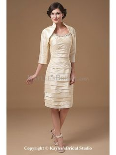 Taffeta Straps Knee-length Sheath Mother Of The Bride Dress with Sequins Ruched and Jacket