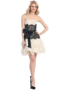 Strapless Bubble Lace Mesh Dress Ivory Black Short Two Tone Holiday Formal Dresses, Long Formal Gowns, Lace Mesh Dress, Lace A Line Dress, Two Piece Homecoming Dress, Homecoming Dresses, Ivory Cocktail Dress, Cocktail Dresses, Sweet 16 Dresses