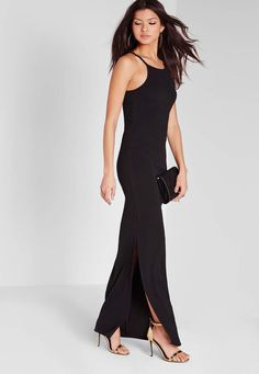 The square neckline of this maxi dress adds an ultra-elegant touch to an already pretty style. Ideal for dressed-up date nights and cocktail parties, this design has a figure-hugging fit and will look its best with a patterned clutch and simple heels. Missguided, Dress Up, Elegant, Pretty, Outfits, Cocktail Parties, Side Split, Dress Black, Women