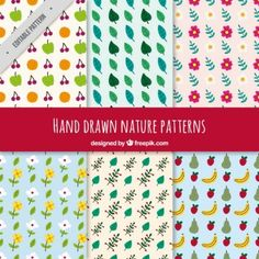 Hand drawn nature and fruits patterns