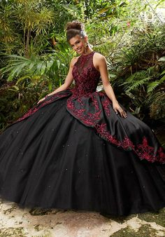 flamboyant gown size 4 ruffles thigh high slit leg heavy rhinestone embellished