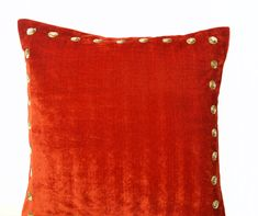 Velvet pillow Orange velvet pillow with gold от AmoreBeaute