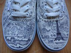 Paris, France Custom VANS Shoes Womens 6 Mens 4.5 on Etsy, $129.00 http://www.stylewarez.com