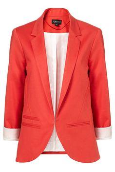 Maybe I've gone a little blazer crazy? Love this boyfriend blazer! Coral Blazer, Colored Blazer, Fashion Outfits, Fasion, Womens Fashion, Summer Blazer, Mein Style, Boyfriend Blazer, Topshop