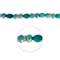 """Blue Moon Beads 7"""" Crystal Strand, Cat's Eye with Metal Spacers, Teal"""