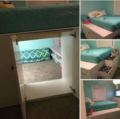IKEA kitchen cabinets turned bed!
