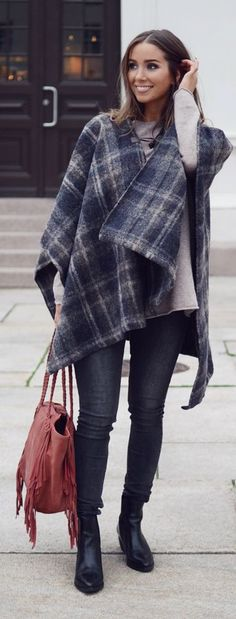 Plaid Poncho Fall Inspo women fashion outfit clothing stylish apparel @roressclothes closet ideas