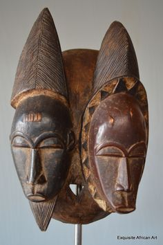 Baule Janus Twin Tribal Mask - Exquisite African Art