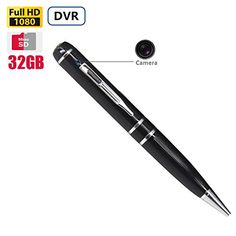 Fuvision 32GB Hidden Camera Pen Recorder 3 Ink Refills Mini Super Small Portable Spy DVR Loop Video Recording Video Recorder 1080P FHD 50 Megapixel Hidden Camera Security DVR >>> Want additional info? Click on the image.