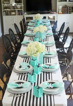 Tiffany OFF! Breakfast at Tiffanys baby shower ideas including menu ideas favors party backdrop table settings and decorations. Great for any party! Tiffany Blue Party, Tiffany Birthday Party, Tiffany Theme, Birthday Brunch, Tiffany Blue Decorations, Tiffany Blue Cakes, Baby Shower Brunch, Baby Shower Parties, Shower Party