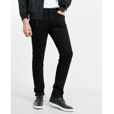 Express Skinny Leg Performance Stretch Black Jean ($88) ❤ liked on Polyvore featuring men's fashion, men's clothing, men's jeans, dolls, black, mens stretchy jeans, mens stretch jeans, mens slim fit jeans, mens slim jeans and mens jeans