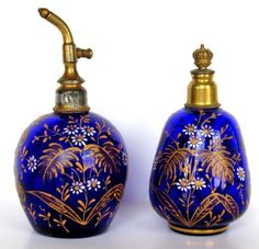 Perfume Bottles Straightforward Antique Moser Bohemian Cobalt Cut To Clear Perfume Scent Bottle