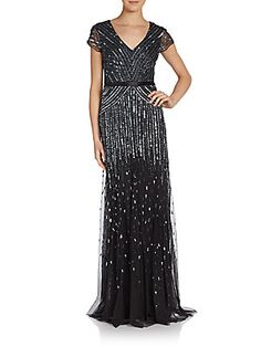Adrianna Papell - Chevron-Stripe Sequined Gown