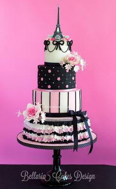 Pink and black Parisian cake Beautiful Cake Pictures, Beautiful Cakes, Amazing Cakes, Paris Themed Cakes, Paris Cakes, Pretty Cakes, Cute Cakes, Bolo Chalkboard, Parisian Cake