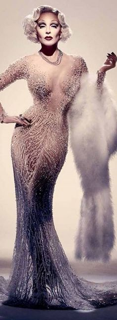 Kylie Minogue as Marlene Dietrich for Sorbet Mag - April 2015 - Zuhair Murad Dress