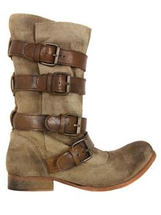 H by Hudson - Kiera, womens washed beige suede boots with a distressed appearance and rounded toe. The boots are calf length with four brown leather buckle fastenings, a H by Hudson embossed leather insole and stacked 2cm heel. - H by Hudson at Coggles.com