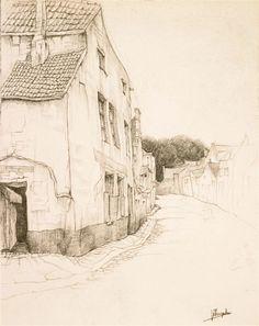 Jules De Bruycker - Tekeningen - potlood, inkt, ingekleurde, krijt - Dessins - Drawings/B0216 VOGELZANGKAAI TE GENT
