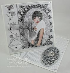 Kanban Deco Ladies paper craft collection - foiled & die cut toppers with co-ordinating card. Fancy Fold Cards, Folded Cards, Kanban Cards, Art Deco Cards, Masculine Birthday Cards, Arts And Crafts House, Modern Art Deco, Shaped Cards, Beautiful Handmade Cards