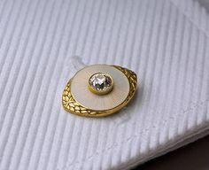 Marchak Antique Russian Enamel Diamond Gold Cufflinks | From a unique collection of vintage cufflinks at https://www.1stdibs.com/jewelry/cufflinks/cufflinks/
