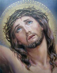 Jesus Christ wearing Crown of Thorns ~ artist undetermined Jesus Our Savior, Heart Of Jesus, Jesus Is Lord, Pictures Of Jesus Christ, Religious Pictures, Catholic Art, Religious Art, Roman Catholic, Croix Christ
