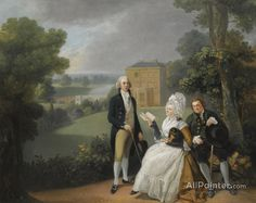 Johan Joseph Zoffany Portrait Of The Sayer Family With A View Of Bridge House, Richmond And The Shakespeare Temple Beyond oil painting reproductions for sale