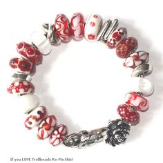 red is the theme for this trollbead bracelet